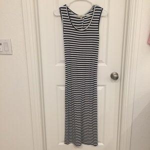 Blue & White Striped Maxi Dress